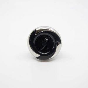65 mm munstycke med 2-puls stråle. Rostfri ring med vågformad svart plast